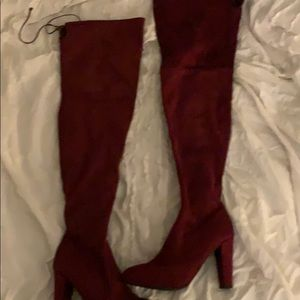 Red thigh high boots size 9